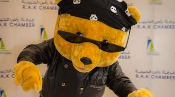 The mascot of RAK Road Riders 2018 is Biker, a teddy bear with attitude