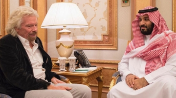 From left Branson with H.R.H Mohammad bin Salman Al-Saud, crown prince, Saudi Arabia.