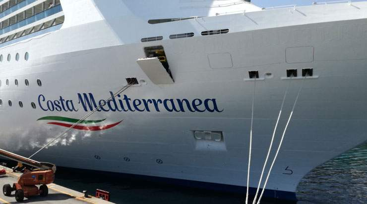 The 1,057-cabin Costa Mediterranea is the first ship to display the new livery
