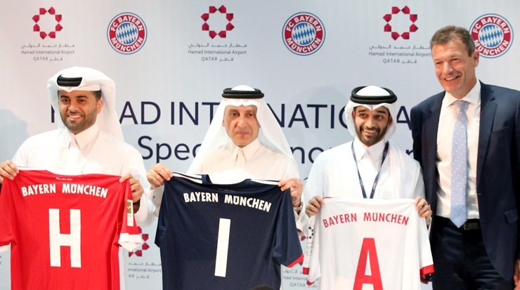 From left:  Al Meer, H.E. Akbar Al Baker, group CEO, Qatar Airways, Hassan Al Thawadi, secretary general, Supreme Committee for Delivery & Legacy and Andreas Jung, executive board member,  FC Bayern München celebrating the reveal of the new jersey