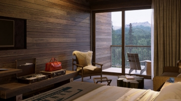 Rooms at McKinley Chalet Resort include Junior Suites, rendering