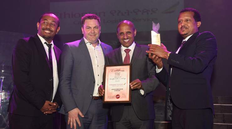 Ethiopian Group CEO and MD Ethiopian Cargo & Logistics Services receiving the awards