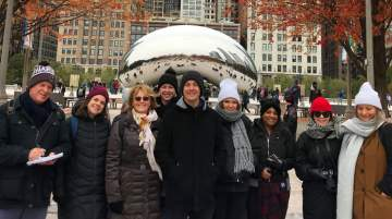 Australian Journalists during their familiarisation tour at Cloud Gate, Chicago, Illinois