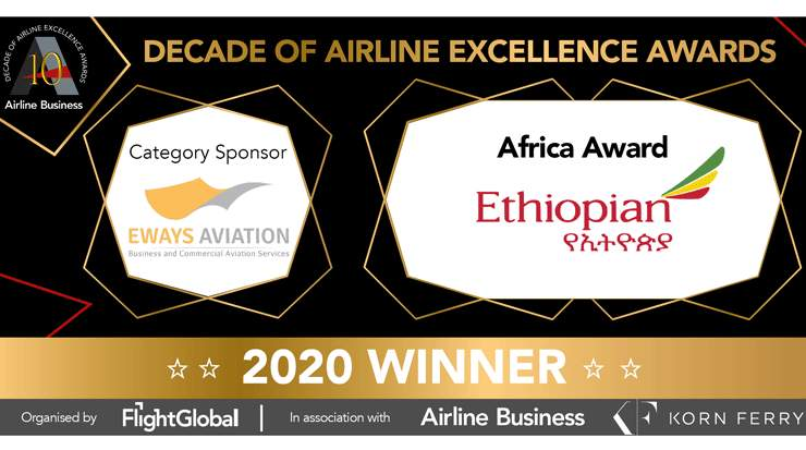 Ethiopian Airlines Honoured as Leading African Carrier at Decade of Airline Excellence Awards