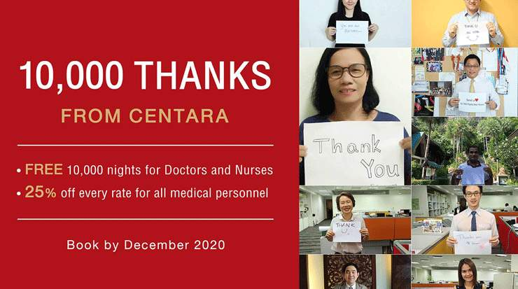 Centara Donated 10,000 Room Nights to Medical Heroes