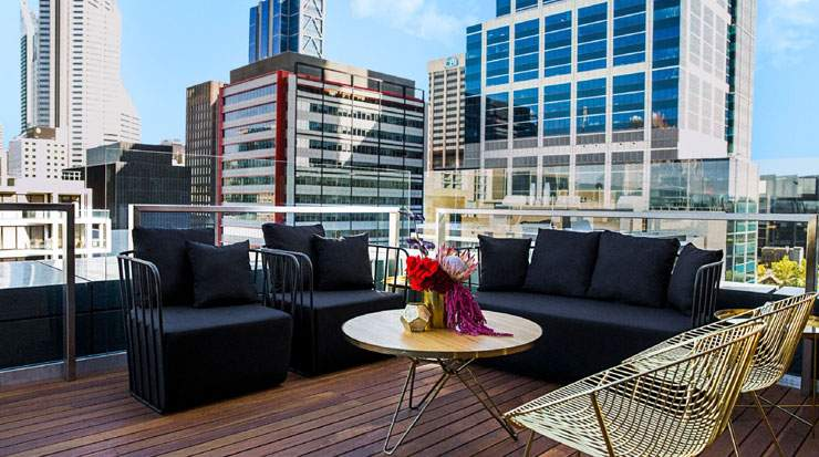 The Melbourne Hotel also features a rooftop lounge and bar