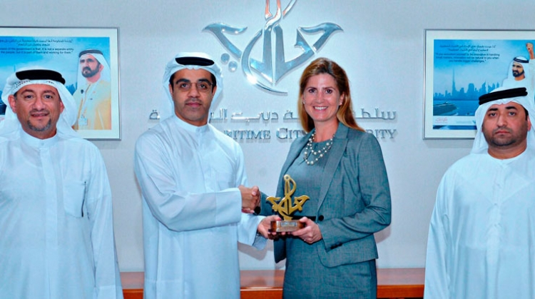 Amer Ali, executive director, Dubai Maritime City Authority, and Jasmine Fichte, president, Maritime Advisory Council