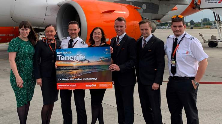 Management and cabin crew celebrate the easyJet's new Tenerife service from Liverpool