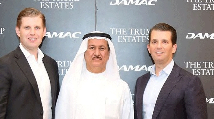 From left: Eric Trump, Sajwani and Donald Trump Jr.