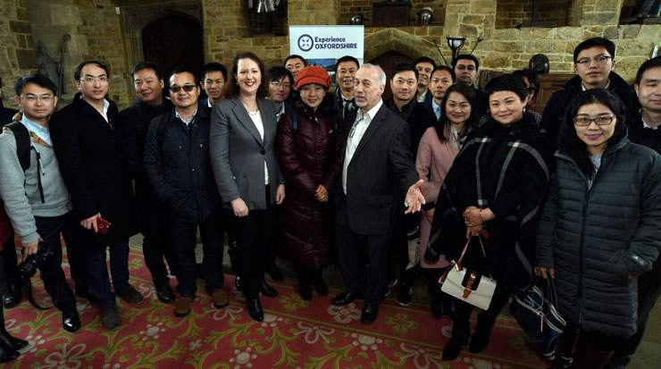 Prentis and Frank Smith, head, commercial services, Experience Oxfordshire, met with visitors from China at Broughton Castle