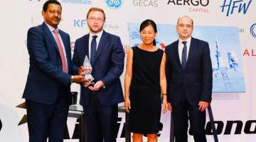 Ali Mohammed, Area Manager Gulf, Ethiopian Airlines, receiving the award