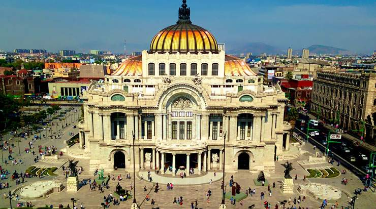 Visitors to Mexico City can enjoy attractions including the city's Palacio de Bellas Artes where fine art is on display