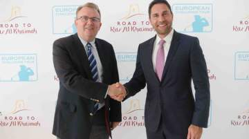 From Left: Nick Tarratt, director, European Tour International Dubai Office, with Mattar after Challenge Tour discussions