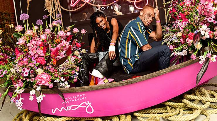 Ari Fitz, filmmaker (right) also attended the opening of Moxy Amsterdam Houthavens, along with model Ralph Souffrant (left)