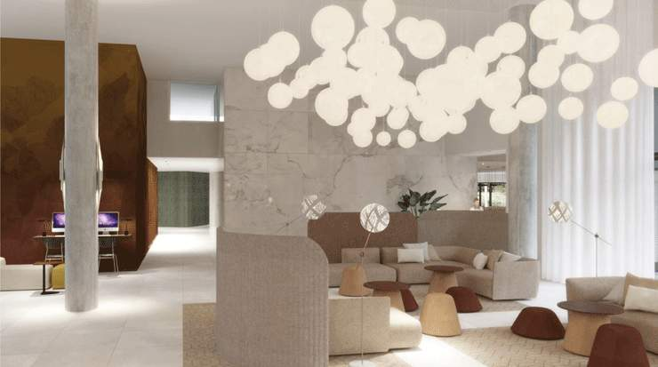 Front desk and lounge rendering of Hyatt Place Paris Charles de Gaulle Airport