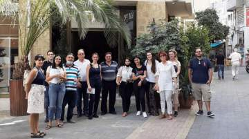Hotel receptionists taking a tour of Nicosia