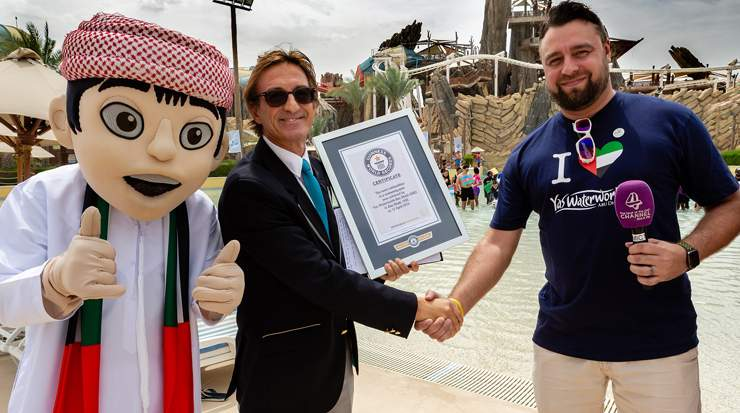 Yas Waterwold achieving the Guinness World Records title for Most Nationalities in a Swimming Pool