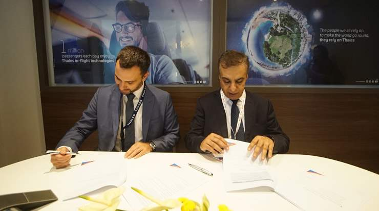 The signing of Air Arabia selecting Thales for its new Aviobook Electronic Flight Bag system