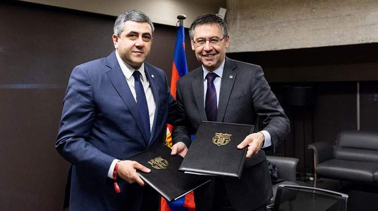 The agreement was signed by Pololikashvili and Josep  Bartomeu, president, FC Barcelona