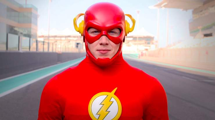Warner Bros. World's The Flash circles Yas Marina Circuit, Abu Dhabi