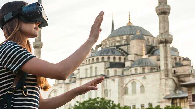A tourist using Virtual Reality