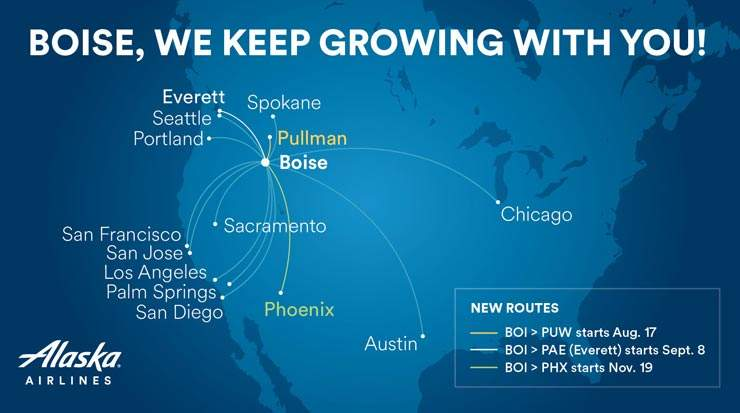 Alaska Airlines Grows with Boise with New Flights and Routes