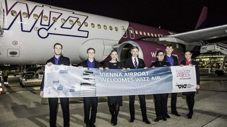 Vienna Airport staff welcomed Wizz Air's first flight to the country