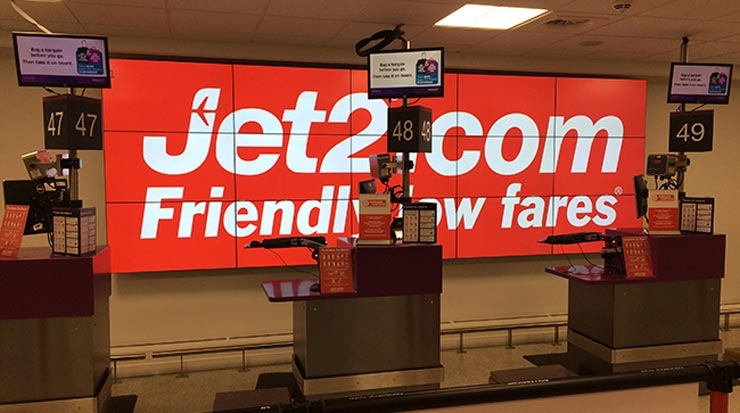 Jet2.com digital screen at Edinburgh Airport